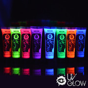 8 x 10ml UV Glow face & body paints